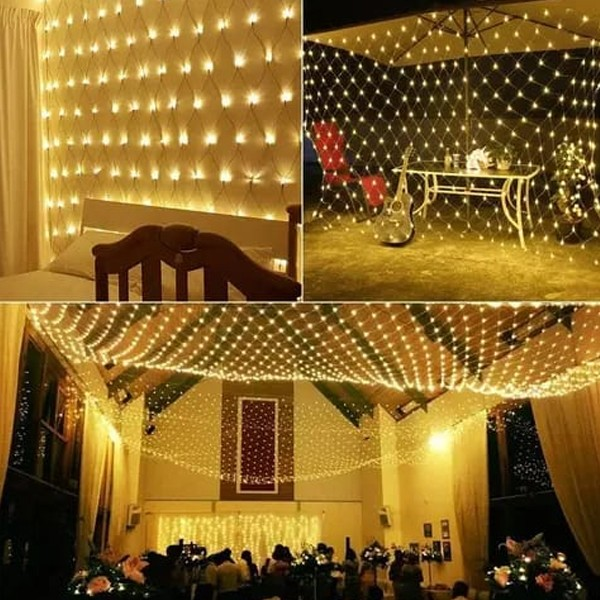 2021 Top Selling Fishnet LED decorative lights warm white with 8 modes 3.2 meters-4996