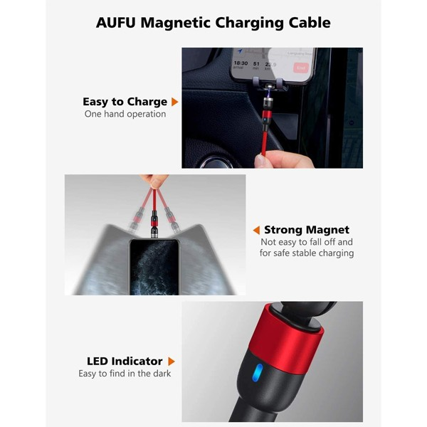 GO SMART Magnetic 540 degree rotating 3 in 1 nylon charging cable with fast charging & Data transmission-5206