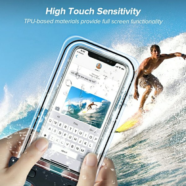 GO LIFE Top Selling IP68 Waterproof Under Water Mobile Phone Touchscreen Transparent Pouch With Tag-4975