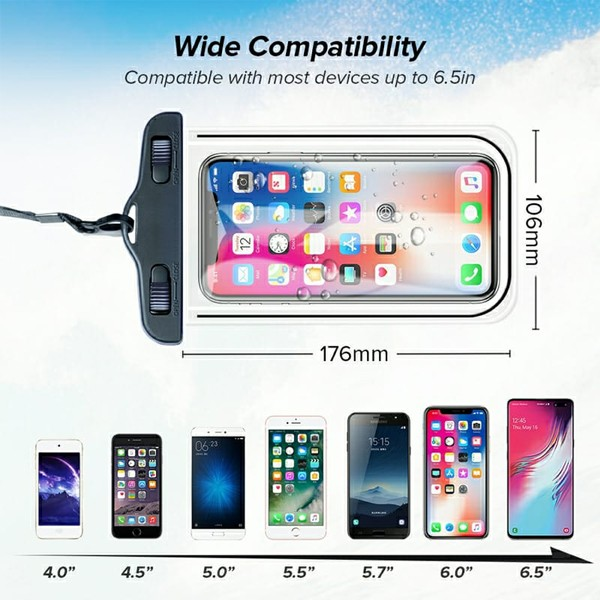 GO LIFE Top Selling IP68 Waterproof Under Water Mobile Phone Touchscreen Transparent Pouch With Tag-4976