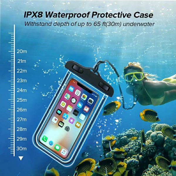 GO LIFE Top Selling IP68 Waterproof Under Water Mobile Phone Touchscreen Transparent Pouch With Tag-4974
