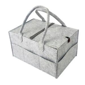 Baby Storage Basket Light Grey With Button And Cover-HV