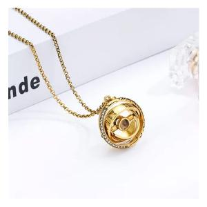 SIGNATURE COLLECTIONS Romantic Confession astronomical rotating spherical I love you in 100 languages projection necklace Gold-HV