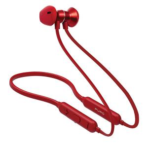 Puro BTIPHF09-RED Bluetooth Neckband Earphones V4.1 Magnet Pod Earphones Answer Button + Volume Red-HV