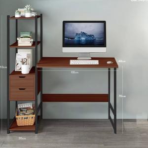 Computer Desk with Side Shelf Brown GM549-5-br-HV