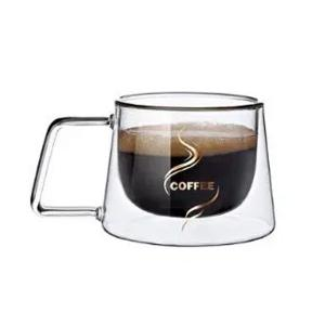 High Borosilicate Double Layer Square Transparent Coffee Cup-HV