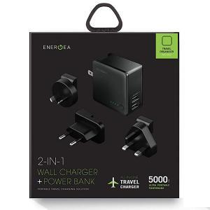 Energea CHR-TWP-5K34 Travelworld Power Bank  5000mAh, 2 USB Wall Charger 3.4A  Gunmetal-HV