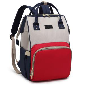 Diaper Bag Backpack and Multifunction Travel Backpack, Water Resistance and Large Capacity, Red and Blue-HV