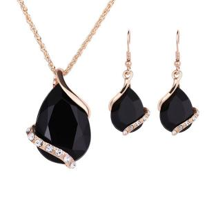 Crystal Earrings Necklaces Sets for Women Geometric Design Wedding Jewelry, Assorted Color-HV