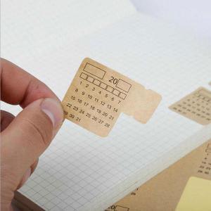 Vintage Kraft Paper Sticker Notebook Can Write Calendar-HV