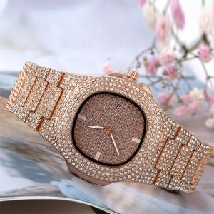 SIGNATURE COLLECTIONS Luxury Style Statement Iced Out Bling Quartz Watch, ROSE GOLD-HV