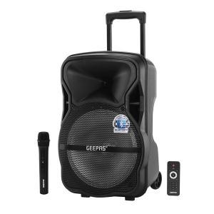 Geepas GMS8568 Trolley Bluetooth Speaker Wireless Microphones 1800mah Rechargeable Battery Karaoke Dj Speaker With Led Lights -HV