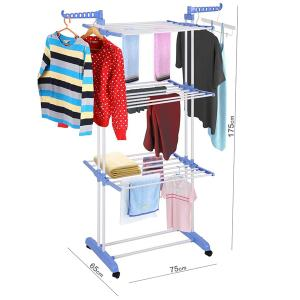 Foldable 3 Layers Drying Rack For Clothes Blue GM539-5-b-HV