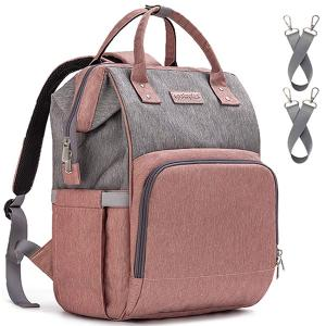 Diaper Bag Backpack and Multifunction Travel Backpack, Water Resistance and Large Capacity, Grey Pink-HV