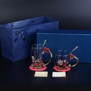 Enamel Cup Red Rose Double Set-HV