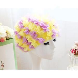 Womens Long Hair Flower Swimming Cap Yellow And Purple-HV
