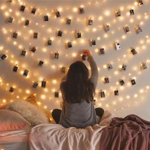 HAPPY MEMORIES PHOTO HANGING LED STRIP LIGHTS 20 CLIPS 3M WARM WHITE USB POWERED-HV