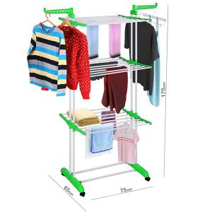 Foldable 3 Layers Drying Rack For Clothes Green GM539-5-g-HV