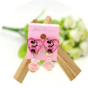 Childrens Cartoon Pierced Earrings Pink Minnie-HV