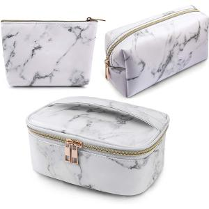 Marble design waterproof PU leather hand bag for ladies 3 pcs white-HV
