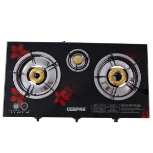 Geepas GK6759 Triple Burner Gas Cooker With Tempered Glass Top-HV