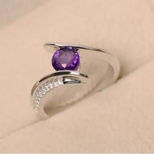 SIGNATURE COLLECTIONS Purple Solitaire Ring SGR011-HV