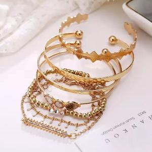 SIGNATURE COLLECTIONS Bohemian Style 7Pcs Gold Plated Adjustable Bracelets -HV