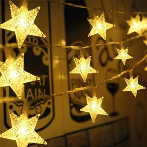 Solar powered Star String LED Lights Warm White 5m-HV