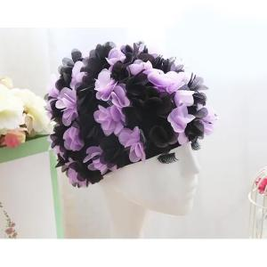 Womens Long Hair Flower Swimming Cap Black And Purple-HV