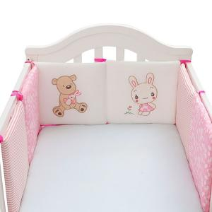 6pcs Baby Crib Bumper for Bed Pink GM293-p-HV
