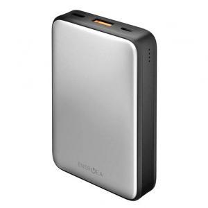 Energea CP-AM1201-SIL Compac Alumini USB-C PD Aluminum Power Bank Smart Fast Charge 4.0 10000mah Li-poly Silver-HV