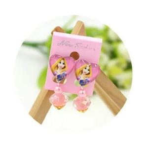Childrens Cartoon Pierced Earrings Long Hair Princess-HV