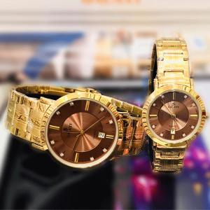 Galaxy Stainless steel Stylish Couple Watch, Gold/Brown-HV