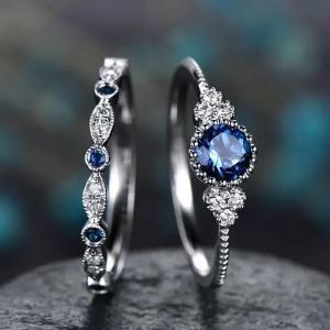 SIGNATURE COLLECTIONS SGR008 Romantic Confession Sapphire Blue Dual Rings-HV