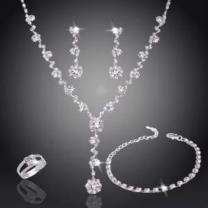 SIGNATURE COLLECTIONS SGR005 Bridesmaid Fashion Luxurious Rhinestone 5 pcs Jewellery Set 1-HV
