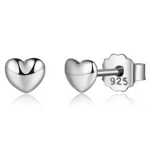 BAMOER 100% 925 Sterling Silver Petite Plain Hearts Stud Earrings for Women -HV