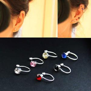 Clip On Earrings For Women 4mm Crystal Ear Cuff Jewelry Fake Piercing Zinc Alloy Ear Clips, Assorted Color-HV