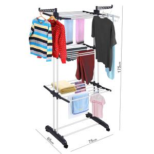 Foldable 3 Layers Drying Rack For Clothes Black GM539-5-HV