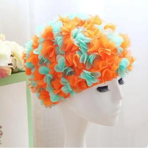 Womens Long Hair Flower Swimming Cap Green And Orange-HV