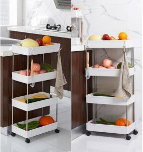 Trolley Storage rack-Narrow [3 layers]+[free 4 rounds + hook]white-40*13*62cm-HV