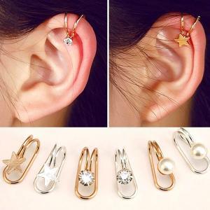 Cute U Ear Cuffs Star Moon Earring Punk Minimalist Women Silver Metal Buckle Fake Piercing Ear Clip-HV