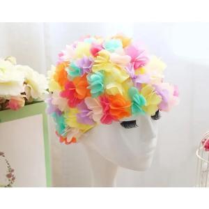 Womens Long Hair Flower Swimming Cap Multicolor-HV
