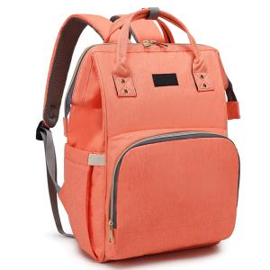 Diaper Bag Backpack and Multifunction Travel Backpack, Water Resistance and Large Capacity, Orange-HV