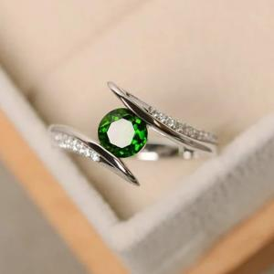 SIGNATURE COLLECTIONS Serpent Green Solitaire Ring SGR013-HV