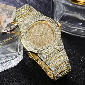 SIGNATURE COLLECTIONS Luxury Style Statement Iced Out Bling Quartz Watch, GOLD-HV