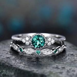 SIGNATURE COLLECTIONS SGR007 Romantic Confession Emerald Green Dual Rings-HV
