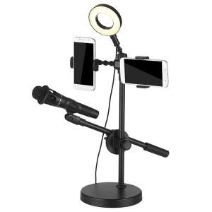 Two Phone Stand Ring Light With Mic Holder-HV