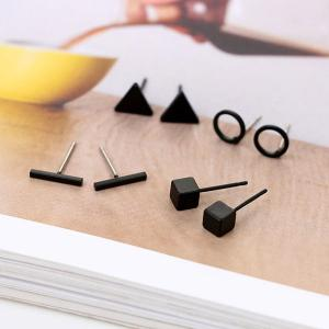 Rock Style Stainless Steel Stud Earrings Set for Men and Women, Assorted Color-HV