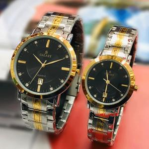Galaxy Stainless steel Stylish Couple Watch, Silver/Black-HV