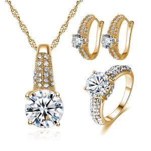 Signature Luxurious Fine Cut Zircon Jewellery Set ( golden) ZR003-HV